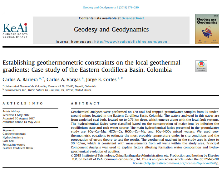 Establishing geothermometric constraints on the local geothermal gradients: Case study of the Eastern Cordillera Basin, Colombia