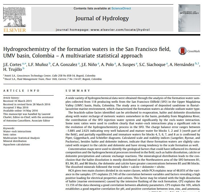 Hydrogeochemistry of the formation waters in the San Francisco field, UMV basin, Colombia – A multivariate statistical approach