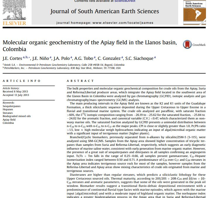 Molecular organic geochemistry of the Apiay field in the Llanos basin, Colombia