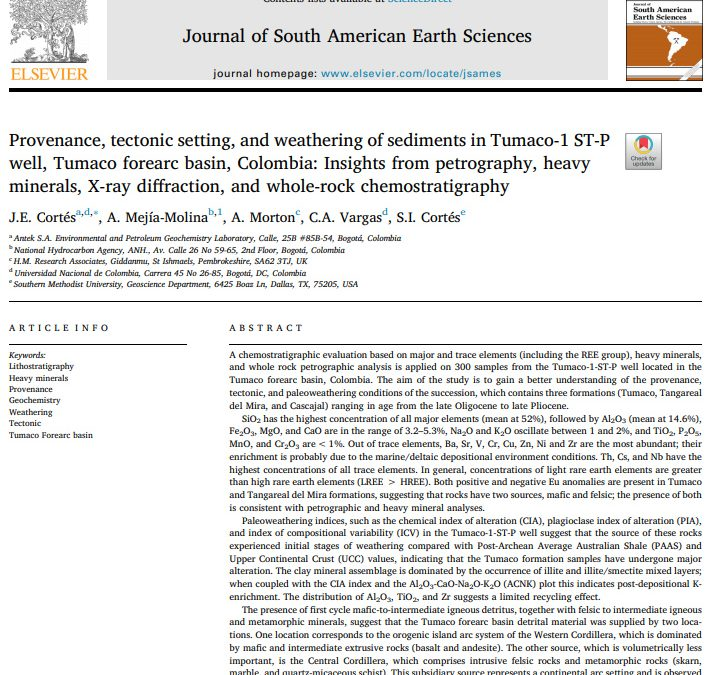 Provenance, tectonic setting, and weathering of sediments in Tumaco-1 ST-P well, Tumaco forearc basin, Colombia: Insights from petrography, heavy minerals, X-ray diffraction, and whole-rock chemostratigraphy