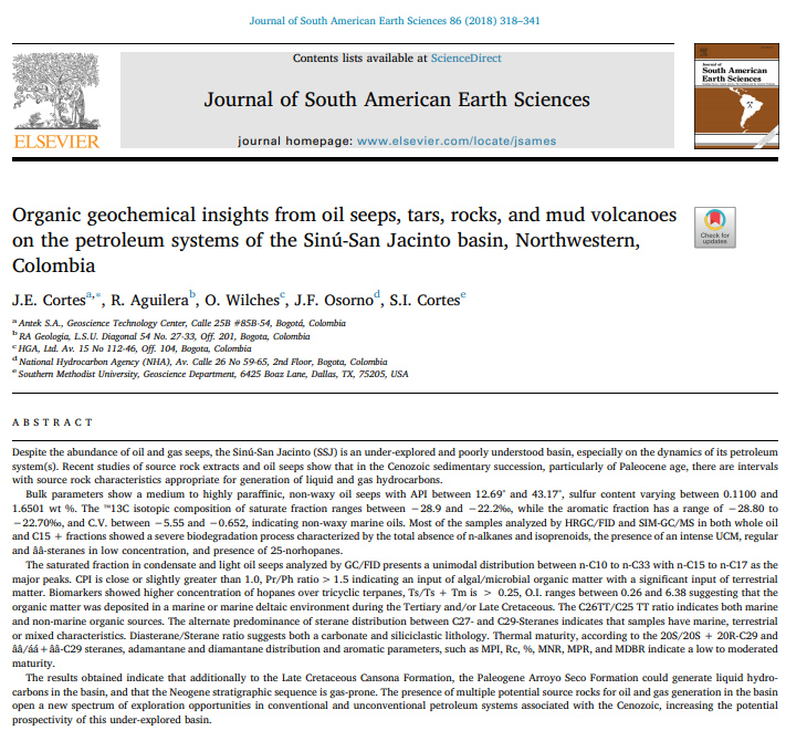 Organic geochemical insights from oil seeps, tars, rocks, and mud volcanoes on the petroleum systems of the Sinú-San Jacinto basin, Northwestern, Colombia